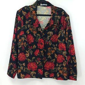 Leslie fay woman black floral blazer. Size 3x